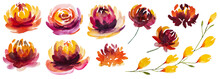 Autumn Watercolor Collection With Yellow, Orange And Red Flowers