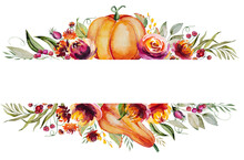 Watercolor Autumn Frame Made Of Pumpkin, Berries, Flowers And Leaves