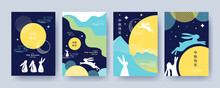 Trendy Mid Autumn Festival Design Set Of Backgrounds, Greeting Cards, Posters, Holiday Covers With Moon, Mooncake And Cute Rabbits In Blue And Yellow Colors. Chinese Translation - Mid Autumn Festival