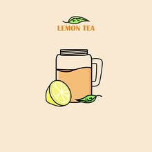 Vector Graphic Illustration Of A Glass Filled With Lemon Tea.