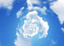 螺旋状に渦巻く雲のイラスト