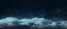 Creative Cloudy Night Sky Background. Landing Page Concept.
