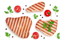 Tuna Fish Steak Grilled Isolated On White Background With Clipping Path And Full Depth Of Field, Top View. Flat Lay