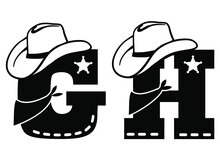 English Alphabet Black. Vector Illustration Of Letter G And H With Western Decoration Cowboy Hat And Sheriff Star Isolated On White Background. Cowboy Baby Cartoon Party Style Characters
