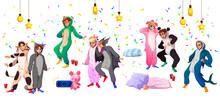 Kigurumi Pajama Party, Youth In Animal Costumes