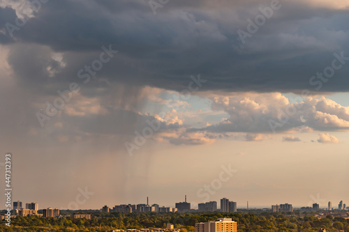 Fototapeta premium Toronto Canada scenic view of cityscape skyline and cloudy sunny summer day. Climate change concept. Dramatic cloudscape. Clean of birds, bugs, and dust