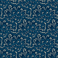 Embroidered Seigaiha Seamless Pattern. Blue And White Bohemian Print For Textiles. Asian Wavy Motifs. Vector Illustration.