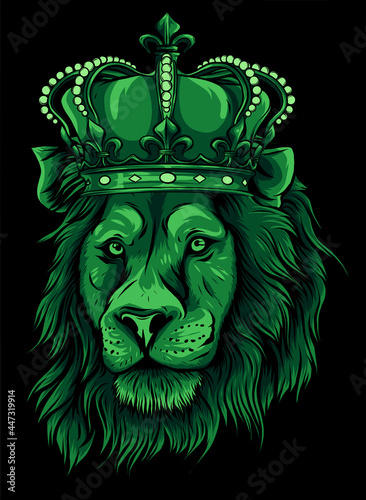 Fototapeta Head of a lion with a crown vector illustration
