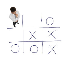 Man And Illustration Of Tic-tac-toe Game On White Background, Above View. Business Strategy Concept