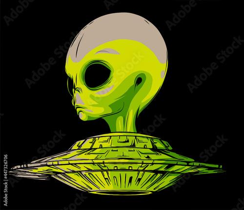 Obraz na plátně alien is sitting in a flying saucer