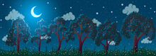 Vector Summer Fabulous Night Landscape. Green Trees And Grass On Meadow