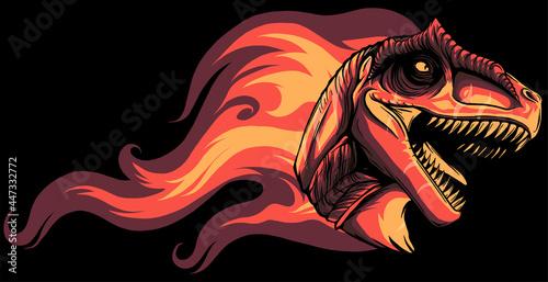 Foto dinosaurus allosaurus head with flames vector illustration design
