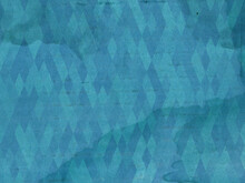 Old Paper In Blue Tones. Abstract Geometric Pattern And Irregular Stains. Destroyed Surface.
