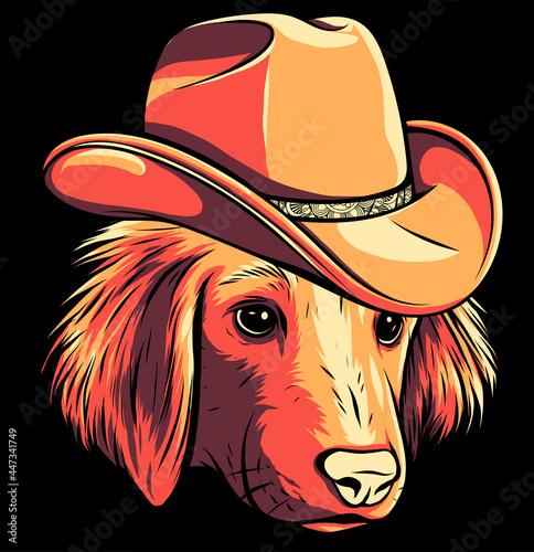Fotografie, Obraz gangster dog with fedora hat vector illustration