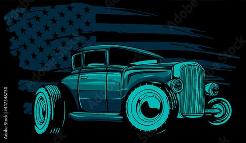 Obraz na plátně Vector Cartoon Retro Hot Rod vector illustration design