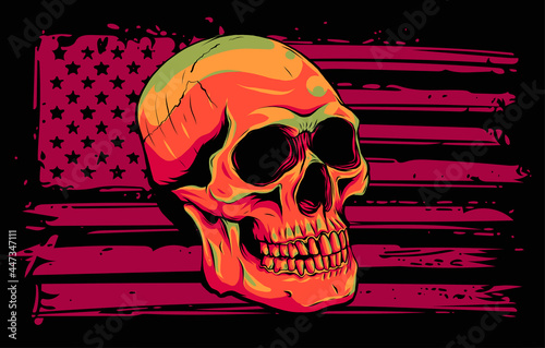 Fotografie, Obraz Skull and flag usa. Vector illustration design