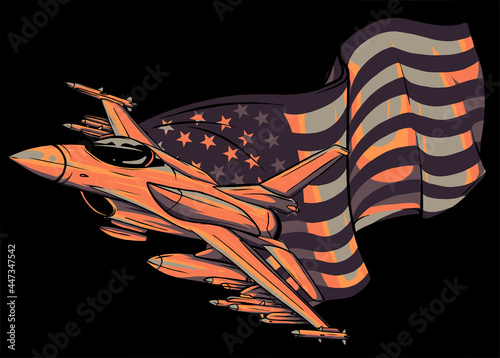 Fototapeta Military fighter jets with american flag. Vector illustration