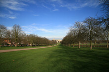 The Round Tower And State Apartments Of Windsor Castle Viewed From The Long Walk, Windsor Great Park, England.