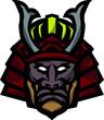 Głowa samuraja wektor mascot logo