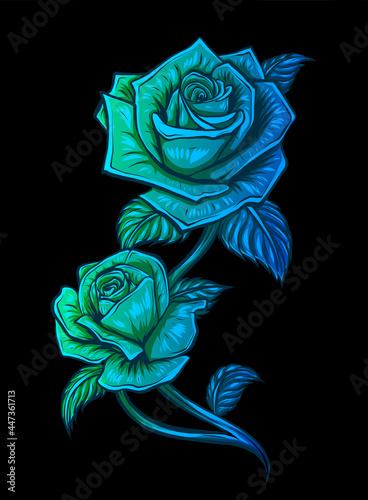 Fototapeta Rose flower vector design, beautiful rose flower art and illustration