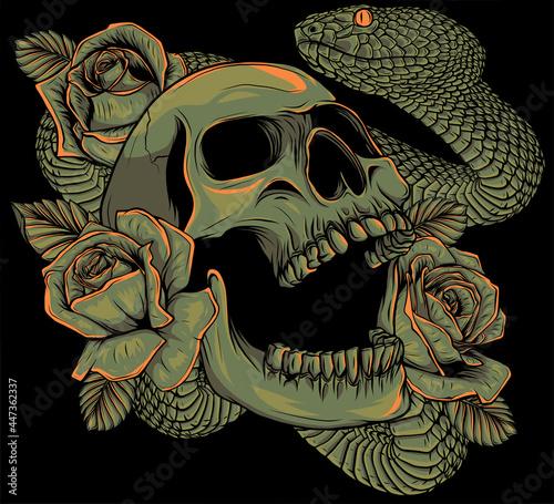 Fotografie, Obraz skull with roses and snake vector illustration