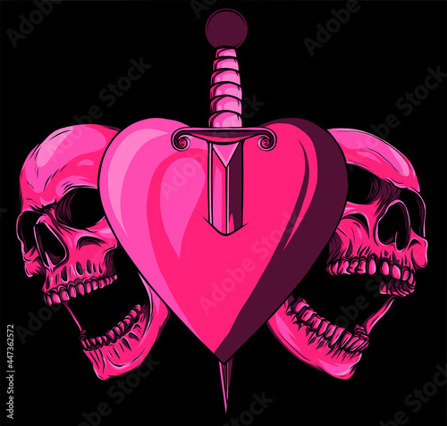 Obraz na plátně Skulls with heart with knife vector illustration