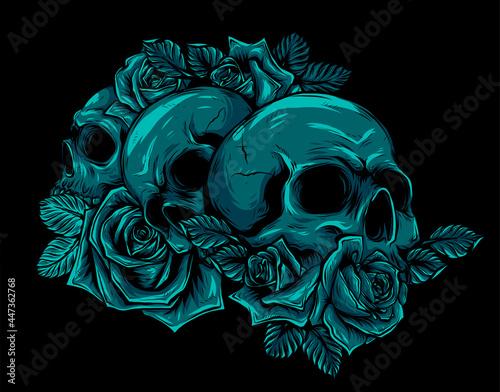Obraz na plátně human skulls, bouquet of flowers. vector illustration