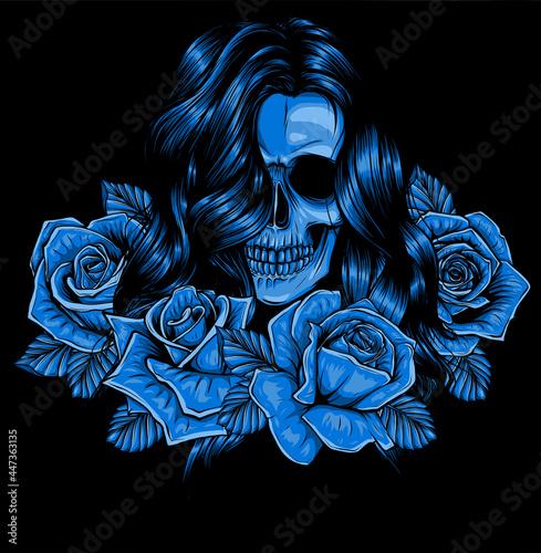 Fototapeta woman skull with roses vector illustration art