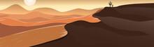 Panoramic Landscape Hot Desert, Sand Dunes - Vector