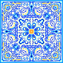 Blue Painting On Ceramic Tile. Seamless Pattern Ornament. Arabesque Pattern For Fabric, Wallpaper, Embroidery, Decoration. Geometric Mandala With Ethnic Motifs. Fantasy Drawing In Kaleidoscopic Style.