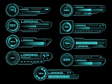 HUD Futuristic Loading Process And Status Bars, Vector Interface Icons. HUD Loading Bars On Digital Screen For Future Technology, Load Power And Download Bars For Game Dashboard Panel UI