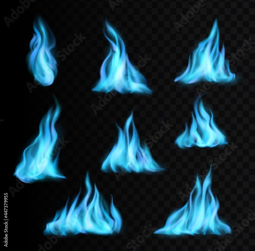 Fotografie, Obraz Natural gas burning blue flames and realistic fire light glow or energy blaze vector icons