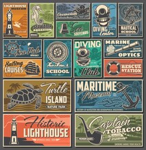Nautical And Marine Vintage Posters. Diving Club, Maritime History Museum And Rescue Station, Sailing Cruises, Oceanarium Aquariums And Turtle Island Nature Park, Nautical School Retro Banners