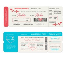 Boarding Pass Tickets, Wedding Invitation Vector Template. Wedding Airline Flight Boardpass Card, Air Travel Coupon Or Passport, Wedding Ceremony Or Marriage Vacation Invite Design With Hearts