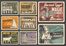 Egypt Landmarks, History Museum And Culture Symbols Vector Banners. Mosque, Abu Simbel Temple And Egyptian Obelisk, Cobra, Scorpion And Sacred Buchis Bull, God Osiris, Rosetta Stone And Felucca Boat