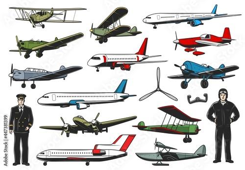 Fotografering Modern and vintage aircraft set