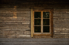 Old Wooden Log House Window Frame Exterior With Glass