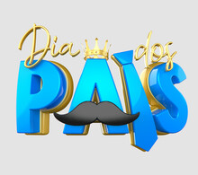 Dia Dos Pais, Selo 3d Para O Dia Dos Pais, Coroa De Rei, Em Ouro Azul Coração Bigode , Texto 3d Fundo Isolado