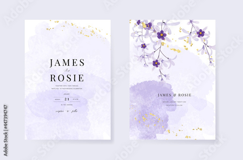 Fotomural Minimal pink tropical Wedding Invitation, floral invite thank you, rsvp modern c