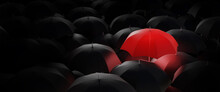 Business For Innovative,creative,new Idea,change Solution And Different Vision Concepts.Standing Out From The Crowd,high Angle View Of Red Umbrella In Mass Of Black Umbrellas.3 Render And Illustration
