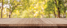 Wooden Table For Food, Product Display Over Blur Green Garden Background, Empty Wooden Shelf, Desk And Blur Tree Park With Bokeh Light In Spring, Summer, Wood Table Top, Counter And Nature Background