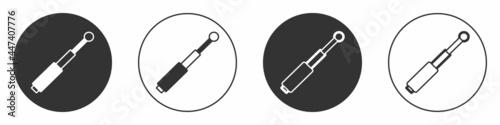 Billede på lærred Black Telescopic baton icon isolated on white background