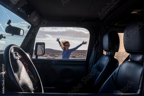 Fotografie, Obraz Happy and free alternative adventure travel tourist woman have fun outside the c