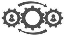 Interaction Icon In The Form Of Three Gears Rotating With Each Other. Vector Illustration.