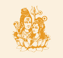 Sketch Of Indian's Famous And Powerful God Lord Shiva AndParvati  Love With Free Space For Text