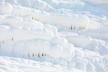 White Texture Of Travertine Terraces At Pamukkale, Turkey