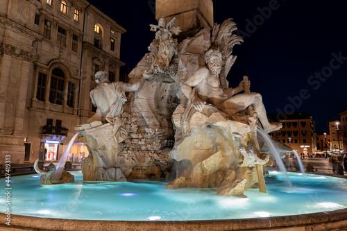Fototapeta Fiumi Fountain at Night in Rome