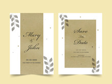 Wedding Invitation Card Template Layout In Olive Green And White Color.