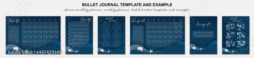 Fotografiet Ocean monthly planner, weekly planner, habit tracker template and example