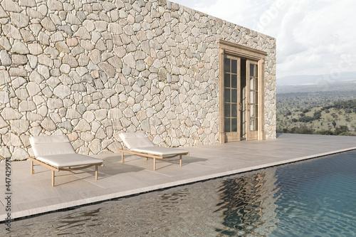 Slika na platnu Scandinavian modern design outdoor terrace with chaise lounge and swimming pool